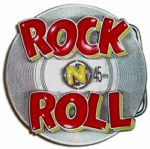 Rock n Roll 45rpm Record Belt Buckle with display stand